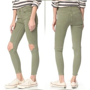 Free People Skinny Jeans In Moss Busted Knee